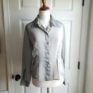 Vintage Express Sheer 10 Med Gray Button Down